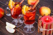 Mulled wine or fruit tea — Stock Photo