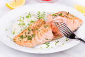 Steamed salmon with fresh herbs and lemon. Rice as a garnish — Стоковое фото