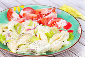 Creamy Pasta Salad with Celery and Red Onion — Stock Photo