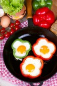 Eggs fried in a pepper — Stock Photo