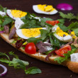 Greek Steak Salad on Bread with Eggs and Feta — Stock Photo #66433773