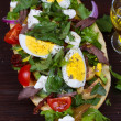Greek Steak Salad on Bread with Eggs and Feta — Stock Photo #66433961
