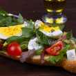 Greek Steak Salad on Bread with Eggs and Feta — Stock Photo #66433981