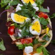 Greek Steak Salad on Bread with Eggs and Feta — Stock Photo #66434025