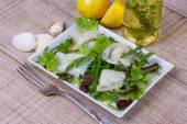 White fish, toothfish with salad — Stock Photo