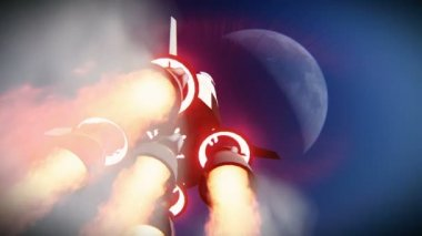 Rocket launch to the space — Stock Video