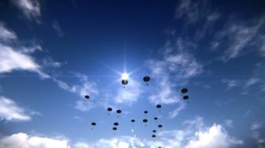Paratroopers descending in the sky — Stockvideo