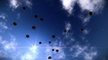 Paratroopers descending in the sky — Stock Video