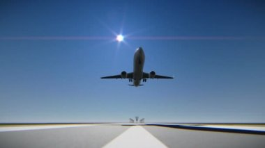 Airplane landing on the airport runway — Vídeo de Stock