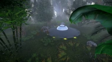 Flying saucer in the jungle — Vídeo Stock