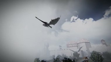 Mythological dragon flying over a medieval village — Stock Video