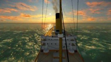 Antique ship - Steamship — Stockvideo