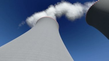 Chimney nuclear power plant — Stock Video