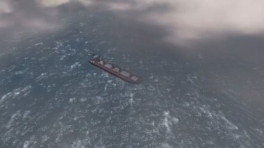 Aerial view of a Big ship in the ocean — Stok video
