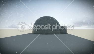Igloo isolated in the snow day — Stockvideo