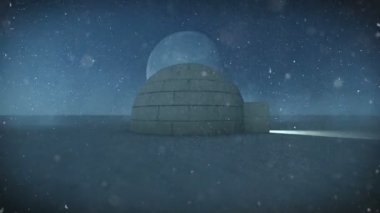 Igloo isolated in the snow at night with full moon background — Stock Video