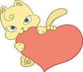 Kitten with heart — Stock Vector