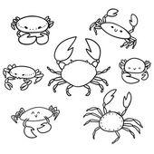 Krab doodle, sada — Stock vektor