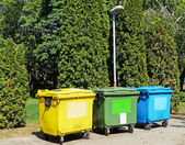 Garbage bins for recycling — Stock Photo