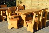 Wooden benches and tables outdoors — Stock Photo