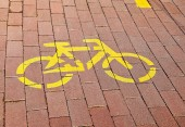 Bicycle road sign on the street — Stock Photo