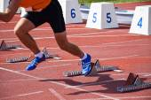 Runners on the running track — Stock Photo