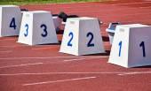 Starting block on the running track — Stock Photo