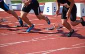 Starting at the running track — Stock Photo