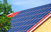 Solar panels on the roof of a building — Stock Photo
