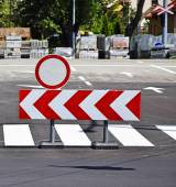 Barrier at the road construction — Stock Photo