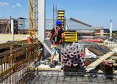 Working at the construction site — Stock Photo