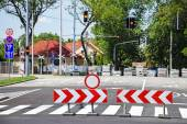 Road barriers at the road crossing — Stock Photo