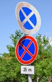 No stopping signs on the street — Stock Photo