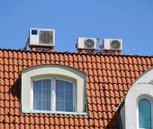 Air conditioners on the roof — Stock Photo