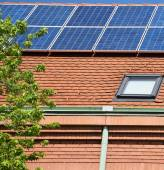 Solar penels on the roof — Stock Photo