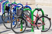 Bicycles at the parking lot — Stock Photo