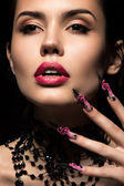 Beautiful girl  with long nails and sensual lips. Beauty face. — Stock Photo