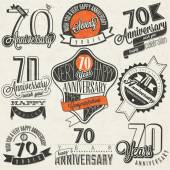 Vintage style Seventy anniversary collection. — Stock Vector