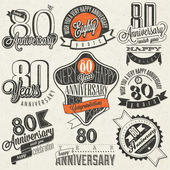 Vintage style 80th anniversary collection. — Stock vektor