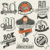 Vintage style 80th anniversary collection. — Stock Vector