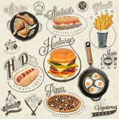 Retro vintage style fast food designs. — Stock Vector