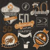 Vintage style 50 anniversary collection. — Stock Vector