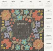 Retro vintage style calendar design. — Stock Vector