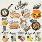Retro vintage style fast food and drinks designs. — Stock Vector