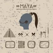 Design elements mystical signs and symbols of the Maya. — Stock Vector
