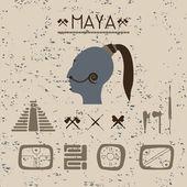 Design elements mystical signs and symbols of the Maya. — Vector de stock