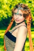 Beautiful red head girl outdoors  — Stock Photo