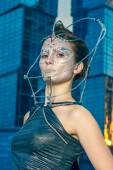 Fashion model with futuristic hairstyle and make-u — Stock Photo