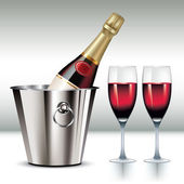 Champagne in cooler — Stock Vector