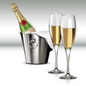 Champagne bottle in cooler — Stock Vector